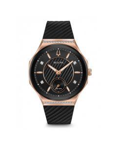 Bulova Women's 26 Diamond Curv Dial Rubber Strap Watch - Black
