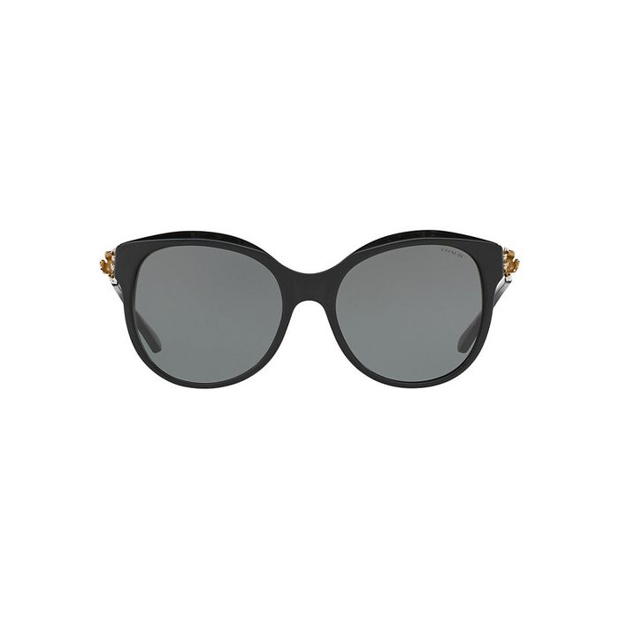 Coach HC8189 Oval Sunglasses - Black-Light Gold / Grey Solid