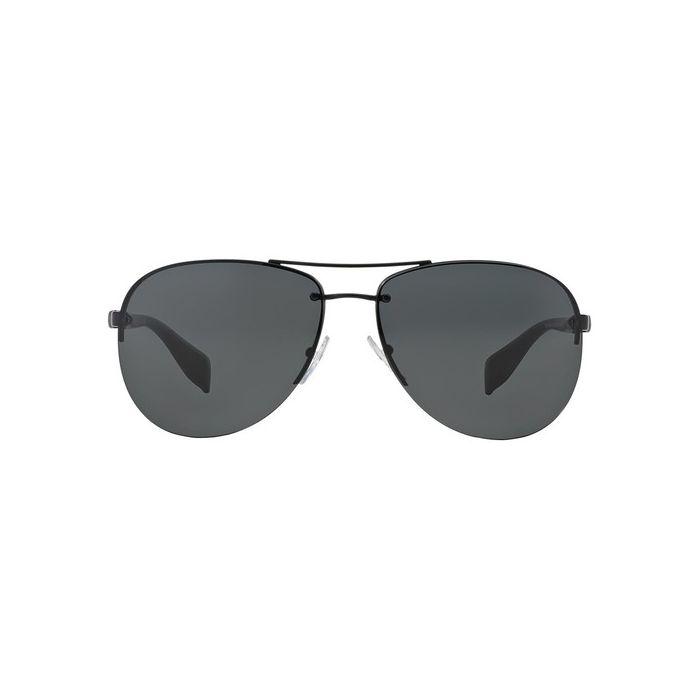 Prada Linea Rossa PS56MS Aviator Sunglasses - Semi Shiny Black / Grey