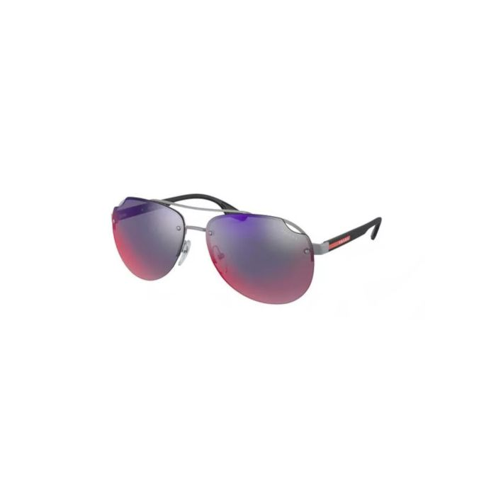 Prada Linea Rossa Men's Sunglasses - Matte Gunmetal/Blue Gradient Red