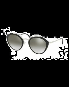 Prada Women's Sunglasses Oval - Black/Gradient Grey Mirror Silver