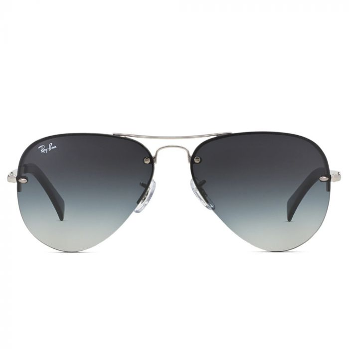 Ray Ban Men's Sunglasses - Silver Frame/Gradient Grey Lens