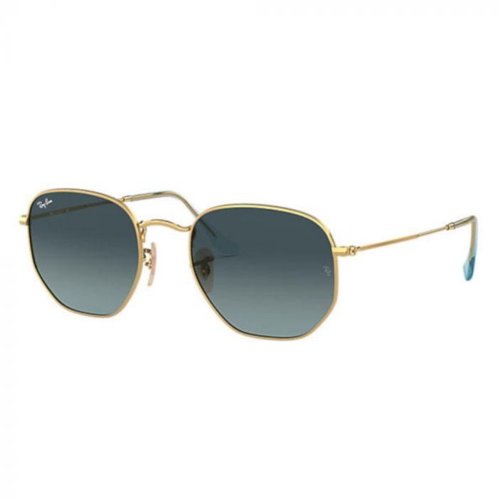 Ray Ban Hexagonal Unisex Sunglasses- Gold/ Blue Gradient