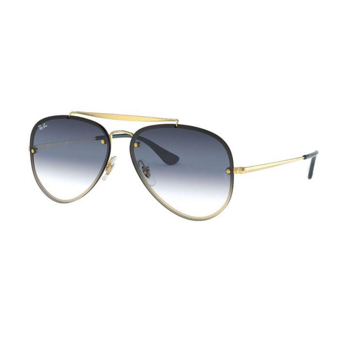 Ray Ban Unisex Blaze Aviator Sunglasses- Grey/Blue Gradient Mirror