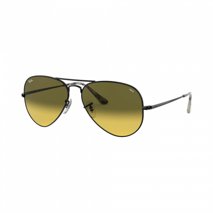 Ray Ban Unisex Sunglasses Pilot - Black/Photo Yellow Gradient Green