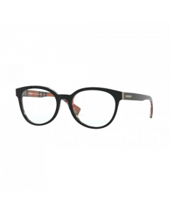 Burberry Women's Eyeglasses Round - Top Black On Vintage Check