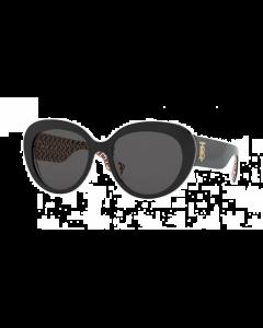 Burberry Women's Sunglasses Cat Eye - Top Black On Print Tb Red