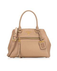 Prada Vitello Phenix Cammeo Leather Satchel - Beige