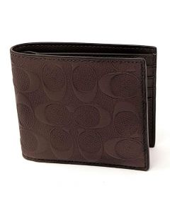 Coach Compact ID Wallet in Signature Crossgrain - Brown