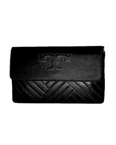 Tory Burch Alexa Quilted Leather Clutch Shoulder Bag- Black