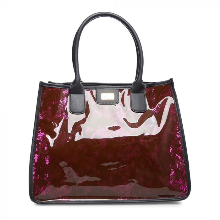 Luv Betsey By Betsey Johnson Karly Clear Animal Print Tote - Pur Snake