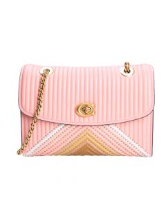 Coach Parker Colorblock Quilting/ Rivets Crossbody - Pink