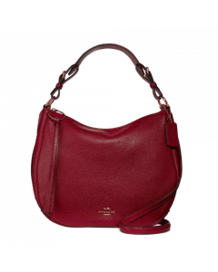 Coach Sutton Hobo in Polished Pebble Leather - Deep Red