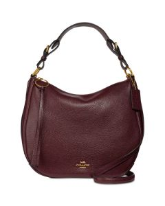Coach Sutton Hobo in Polished Pebble Leather Crossbody - Oxblood/Gold