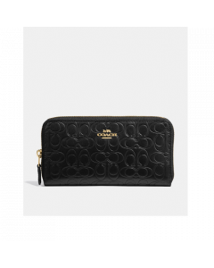 Coach Accordion Zip Wallet In Signature Leathe - Black