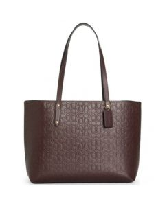 Coach Signature Tote Leather Bag - Oxblood/Brown