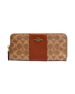 Coach Signature Coated Canvas Colorblock Wallet - Rust