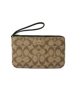 Coach Signature PVC Double Zip Wallet Wristlet - IM/Khaki/Black