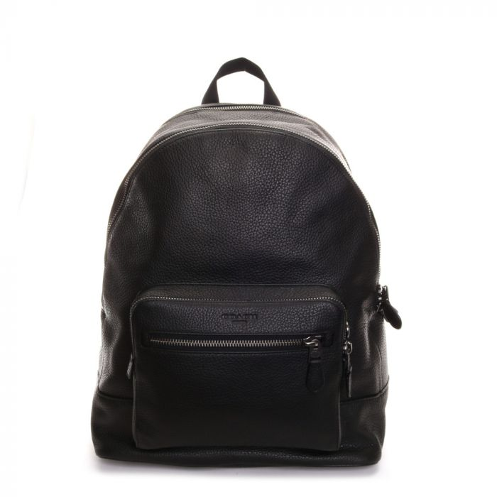 Coach Men's West Black Pebble Leather Backpack- Black