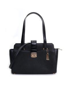 Coach Women's Crossgrain Leather Avary Satchel - Black