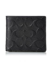 Coach Men's Coin Leather Wallet - Black