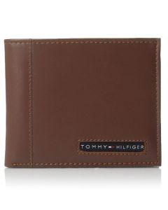 Tommy Hilfiger Men's Leather Cambridge Billfold Passcase Wallet - Tan