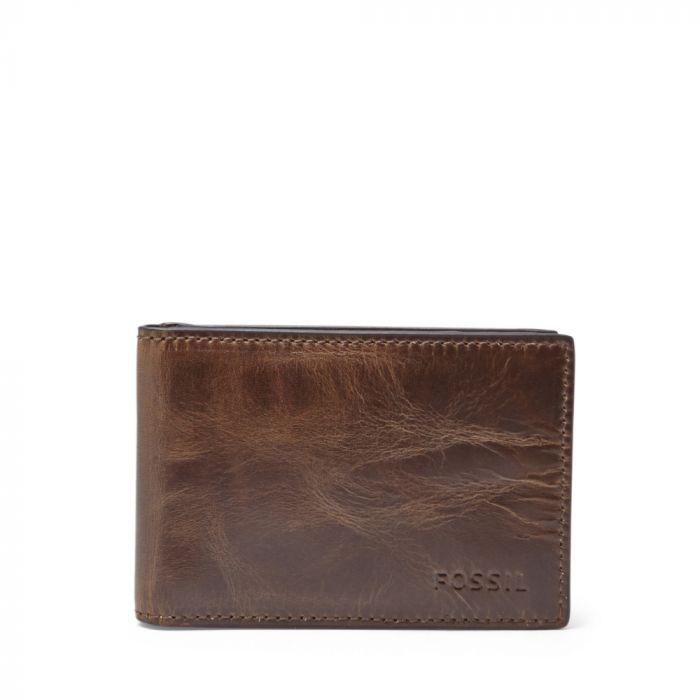 Fossil Derrick Money Clip Bifold Men's Leather Wallet- Dark Brown