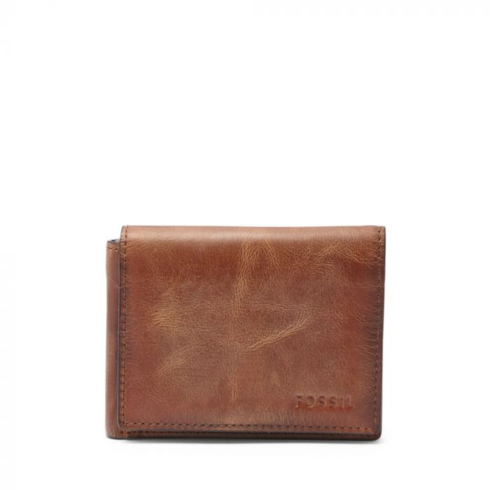 Fossil Derrick Execufold Men's Leather Wallet- Brown