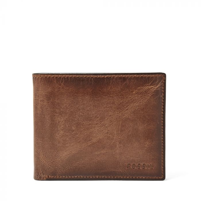 Fossil Derrick RFID Passcase Men's Leather Wallet- Brown