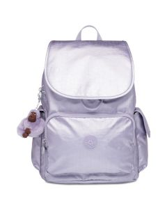 Kipling Citypack Backpack- Frosted Lilac Metallic/ Silver