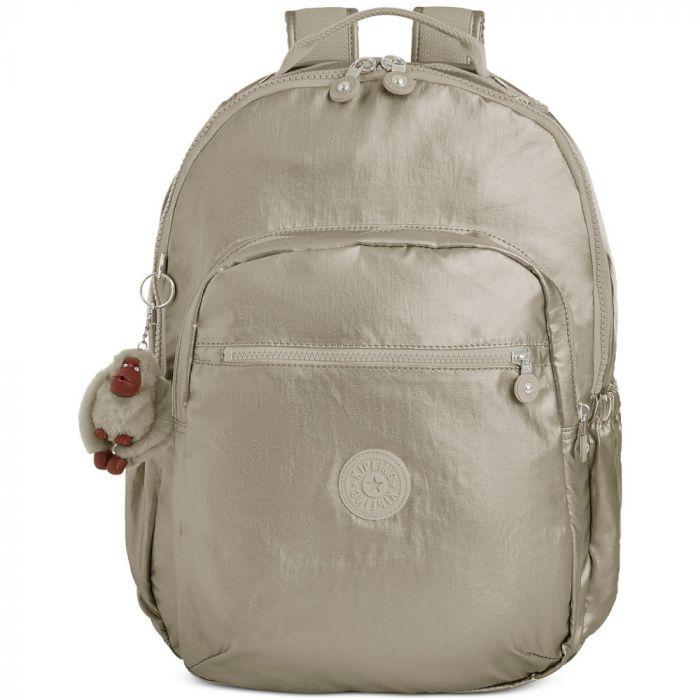 Kipling Seoul Go Backpack- Cloud Grey Metallic