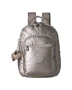 Kipling Seoul Go Small Backpack- Cloud Grey Metallic