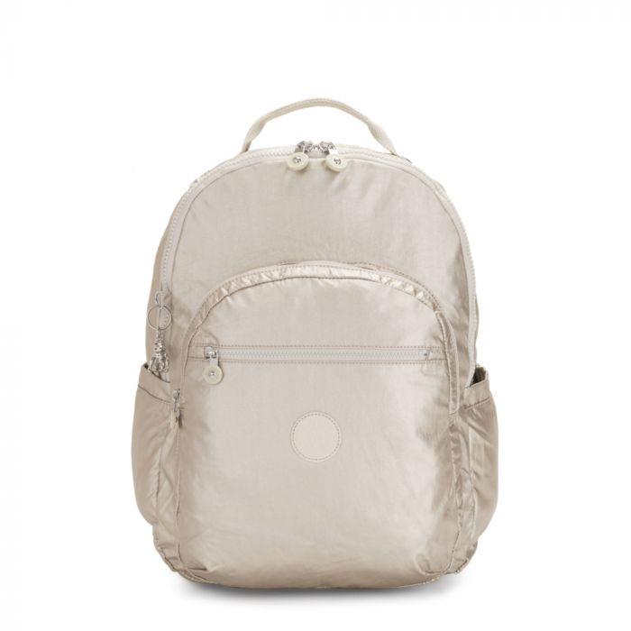 Kipling Seoul Extra Large Metallic Laptop Backpack - Cloud Metal