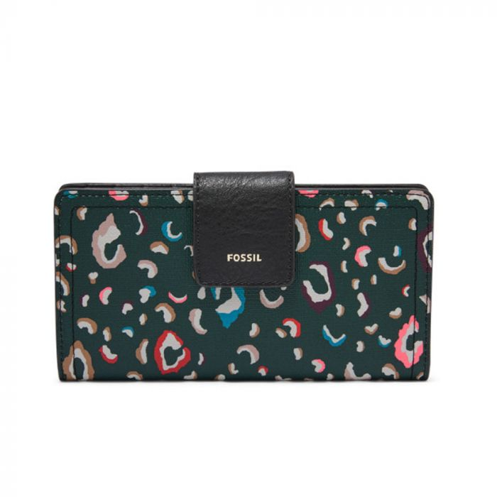 Fossil Women Logan RFID Tab Wallet - Green Multi