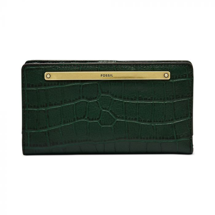 Fossil Liza Leather Slim Bifold Wallet - Spruce/Gold