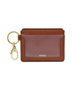 Fossil Leather Lee Wallet Card Case - Brown/Gold