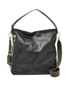 Fossil Maya Pebble Leather Hobo Handbag- Black