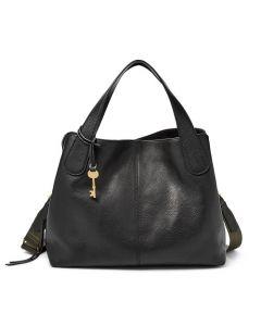 Fossil Maya Double Handle Leather Satchel Handbag - Black