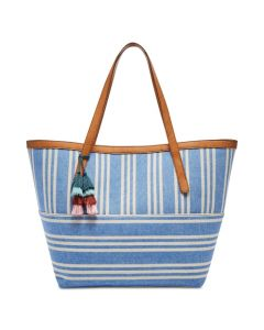 Fossil Jeanne Beach Tote - Blue/White/Gold