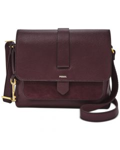 Fossil Kinley Leather and Suede Small Crossbody Bag - Fig/Gold
