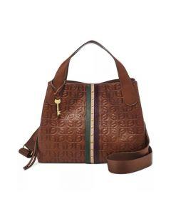 Fossil Maya Leather Satchel Handbag - Brown Multi