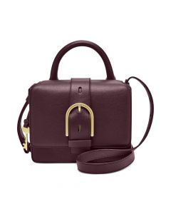 Fossil Wiley Top Handle Leather Satchel - Fig/Gold
