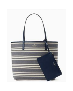 Kate Spade Arch Place Mya Fabric Stripe Tote - Navy