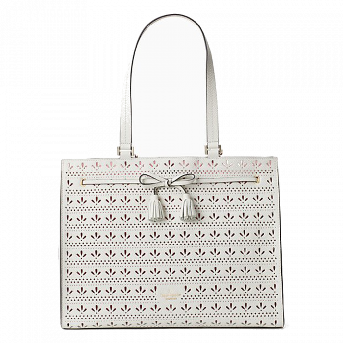 Kate Spade Hayes Perforated Tote - Bright White / Bright Carnation