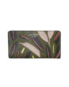 Kate Spade Eva Modern Feather Large Slim Bifold Wallet - Green