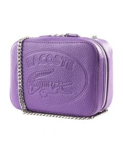 Lacoste Croco Crew Grained Leather Zip Shoulder Bag - Royal Lilac
