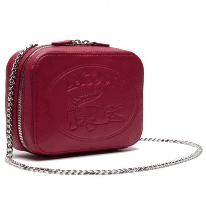 Lacoste Croco Crew Grained Leather Zip Shoulder Bag - Sangria