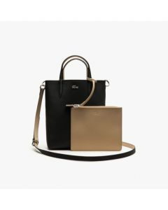 Lacoste Anna Reversible Coated Canvas Tote Bag- Black Warm Sand