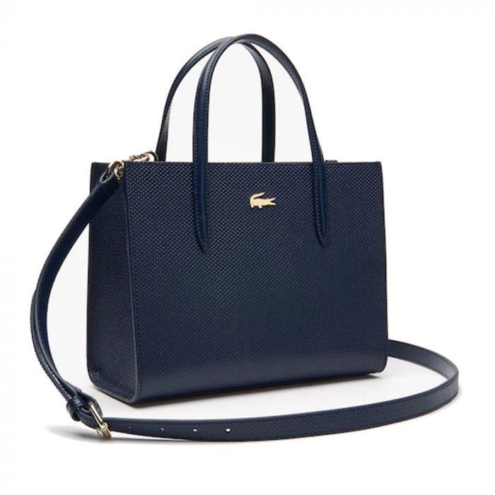 Lacoste Women's Chantaco Dual Carry Piqué Leather Zip Tote Bag - Navy