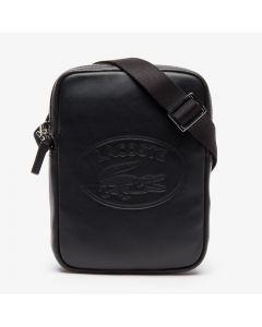 Lacoste L.12.12 Casual Embossed Lettering Vertical Men's Leather Bag - Black